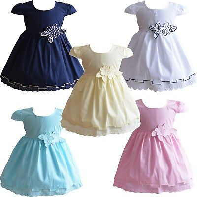 Baby Girls Floral Cotton Dress Pink White Yellow Blue 6 9 12 18 24 Months