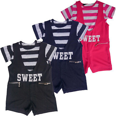 New Kids 2pc Girls Playsuit / Jumpsuit T-Shirt Overall Age 3 4 5 6 7 8 9 10 11