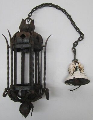 Vtg Antique Gothic Medieval Wrought Iron Hanging Light Fixture Foyer Porch As Is