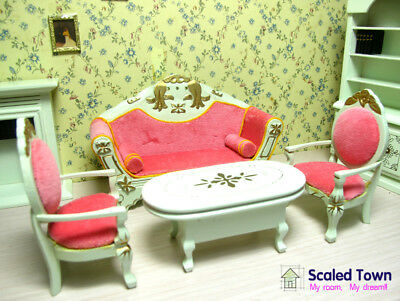 4 Dollhouse Miniature Living Room Furniture set Sofa Armchairs Couch Table 1:12