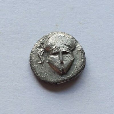 Mesembria, THRACE AR Diobol 400 BC- Facing Helmet / META within wheel 1.13g