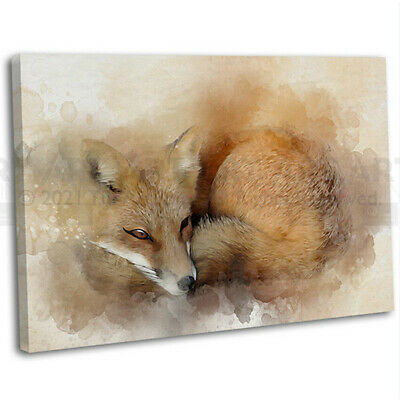Fox Abstract Watercolour Canvas Print Framed Animal Wall Art Picture