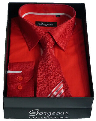 Boys Red Special Formal Shirt And Tie Set Page Boy Wedding Prom Suit Shirts