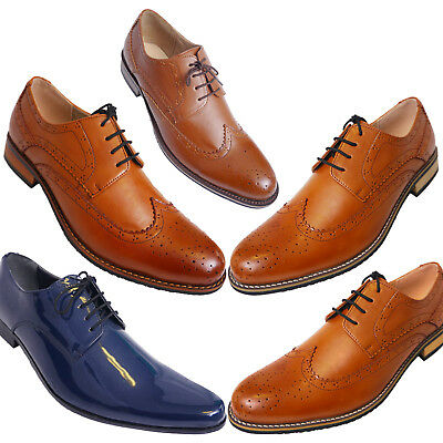 Mens Brown Navy Lace Up Leather Lined Formal Brogues Shoes Size 7 8 9 10 11 12