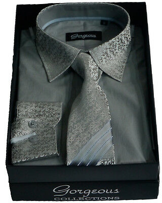 Boys Grey Special Formal Shirt And Tie Set Page Boy Wedding Prom Suit Shirts