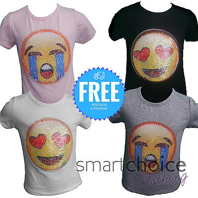 8177f6865ec66 Kids Emoji Emoticon Smiley Face T Shirt Tee Top Brush Changing Sequin Age 3- 14