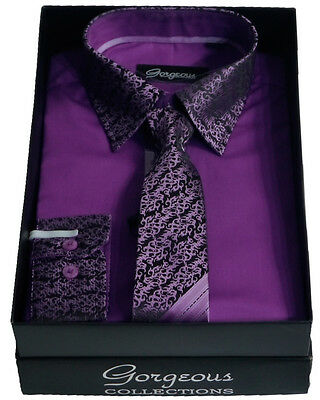 Boys Purple Special Formal Shirt And Tie Set Page Boy Wedding Prom Suit Shirts
