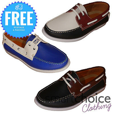 Guciani Formal Smart Casual Lace Up Boat Shoes - Royal Blue, Red & Black, Brown