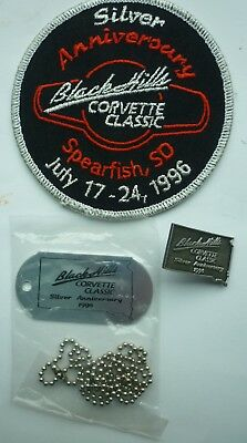 BLACK HILLS CORVETTE CLASSIC 1996 25th ANNUAL PATCH, PIN & DOG TAGS w/ CHAIN NEW