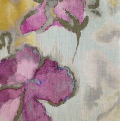 ETAMINE Grenadines Floral Blue Pink Green Watercolor Italy Linen Remnant New