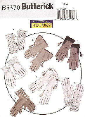 Gloves PATTERN Making History Butterick 5370 Cuffed Fingerless S-M-L Historical