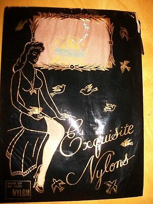 Seamed Nylons / Exquisite First Quality / 2 Pair / Light Beige / Medium