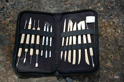 Set of 14 double-ended craft tools for clay or fymo, in canvas case.