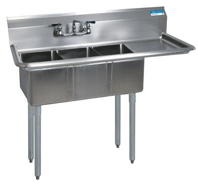 BK Resources BKS-3-1014-10-15R Commercial Stainless Steel 3-Compartment Sink RDB