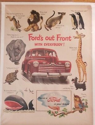 10x14 Orignial 1947 Ford Coupe Ad FORDS OUT FRONT WITH EVERYBODY! ANIMAL PRINTS