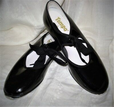 Tempo By Leo's Girls Dance Tap Shoes Black Patent Size 1.5 M