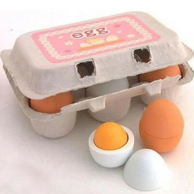 6x Wooden Eggs Yolk Pretend Play Kitchen Food Cooking Set Kids Baby Boy Girl Toy