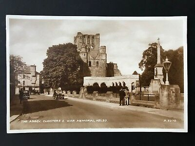 The Abbey, Cloisters & War Memorial - Kelso RP Postcard ref109