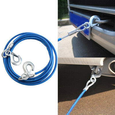 4m Heavy-Duty Emergency Steel Tow Rope Towing Car Recovery Hook 5 Ton 5000KG