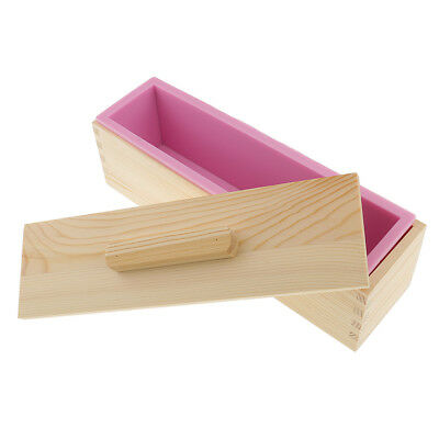 Rectangle Silicone Soap Mold Wooden Box with Lid DIY Toast Loaf Mold Pink