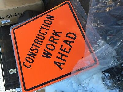 "4 Construction Ahead Signs  30"" x 30""  High Intensity Prismatic  Lot of 4  NEW"