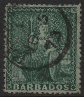 BARBADOS: 1873 - Sg 58 - ½d Green Good Used Example (16508)
