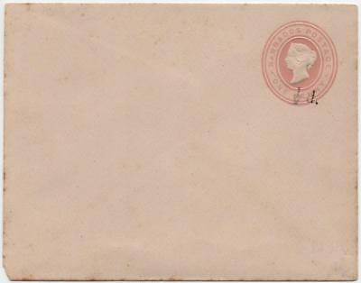 BARBADOS: Queen Victoria 1d Prepaid Cover with ½d Overprint - Unused (16571)
