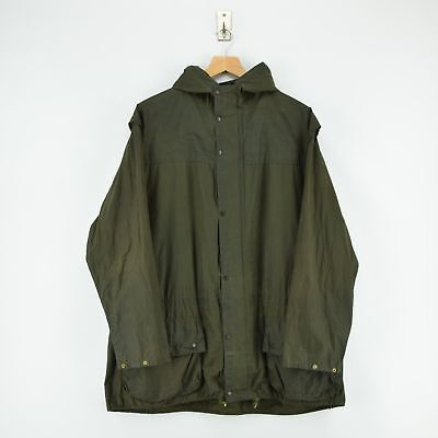 Vintage Barbour A1 Durham Green Hooded Unlined Wax Jacket Coat Made In UK XL