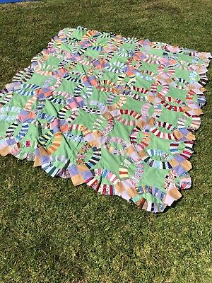 """64/80"""" HOMEMADE/Handmade Wedding Ring Quilt top (Unfinished) Chic Shabby Vintage"""