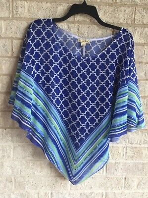 Live And Let Live Poncho Scarf Boho Top Sz L Blue White Green Summer Thin NWOT