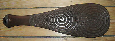 Good Old Antique Maori New Zealand Carved Wooden Mere Paddle Bat Club Nr!