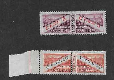 San Marino Postal Issue - 1945 -  2 Pairs Different Parcel Post Mint Stamps,