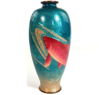 Antique Japanese Meiji Ginbari Cloisonne Vase With Koi Carp Fish