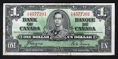 "Canada - 1937 Bank of Canada 1 Dollar Banknote P58e Fine ""King George VI"""