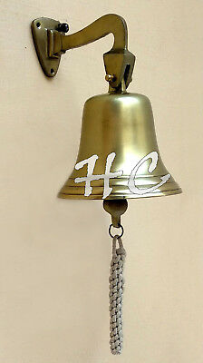 "8"" Aluminium Antique Ship Bell With Wall Bracket Maritime Vintage Nautical Bells"