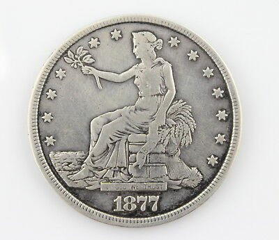 Authentic 1877 U.s. Trade Dollar 90% Silver Coin No Reserve #1289