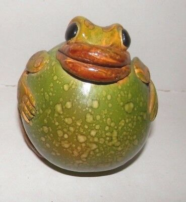"Unique- Made in Argentina Green & Brown Round Frog Figurine 2.5"" in Diameter"