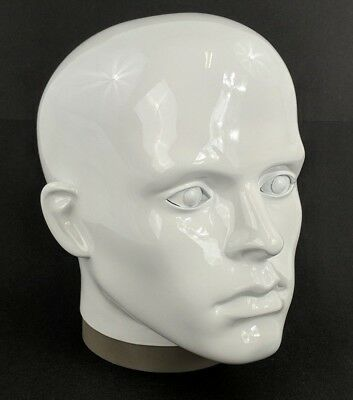 MN-G2 Plastic Male Realistic Head Attachment for Form/Mannequin (Glossy White)