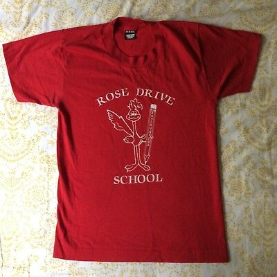 Screen Stars Vintage 80s Red Rose Drive School Roadrunner T-Shirt - Size XXS/XS