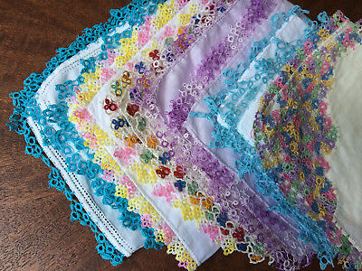 Vtg Hankies Tatted Lace 6 Lot Handkerchiefs ~Pretty Colors~