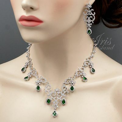 White Gold Plated Green Cubic Zirconia Necklace Earrings Wedding Jewelry Set 903