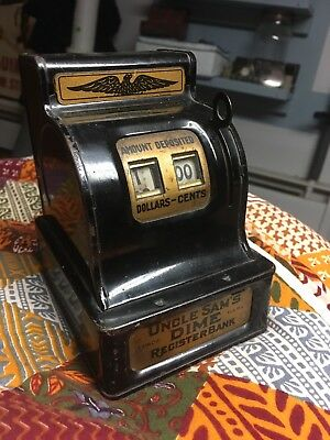 Vintage Uncle Sam's DIME Register Bank The Durable Toy and Novelty Co