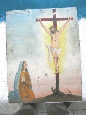 Original 1925 Exvoto/retablo On Tin Woman Thanking Our Lord For Favor Received