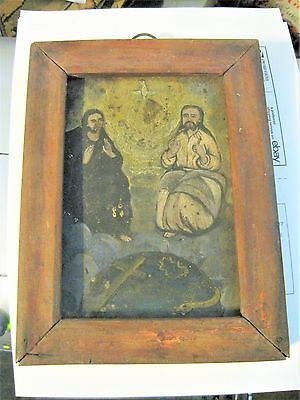 Original Antique Retablo On Tin ,the Holy Trinity With An Antique Wood Frame