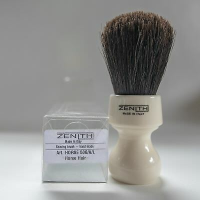 Zenith Horse Brush! Made In Italy.  White Resin Handle. 27mm x 52mm Knot H4