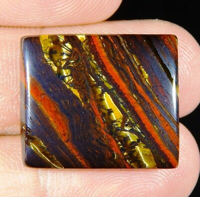 37 Ct Huge Natural Gold Fire Red Iron Tiger's Eye Octagon Cabochon Gemstone D387