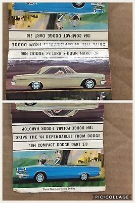 1964 Compact Dodge Dart And Dodge Convertible Matchbook