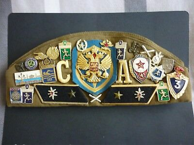 Russian Army Cap Decorated With 6 Cloth Badges & 30 Pin Badges
