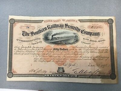 Rare 1871 Southern Railway Security Company Bond, 200 Share, $10,000