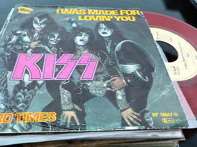 """7"""" - *HardRock* KISS - I Was Made For Lovin' You *RED COLOURED VINYL"""